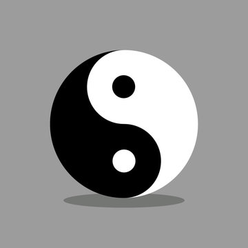 Ying yang symbol of harmony and equilibrium. vector file with gray background