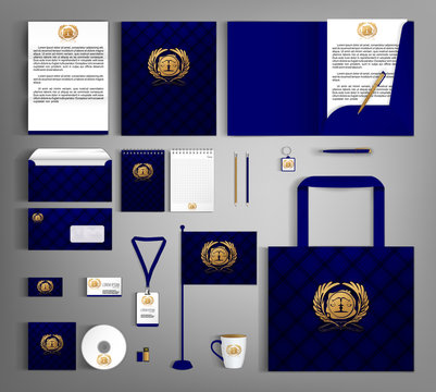 Blue trendy corporate identity template design with gold Notary symbol.