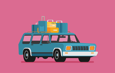 Vector illustration of a retro travel car