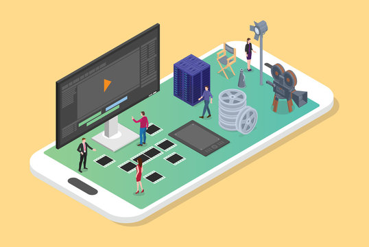 mobile video editing and production on the smartphone with various set of movies productions with modern isometric flat style - vector