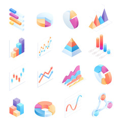 Infographics isometric elements icons vector illustrations.