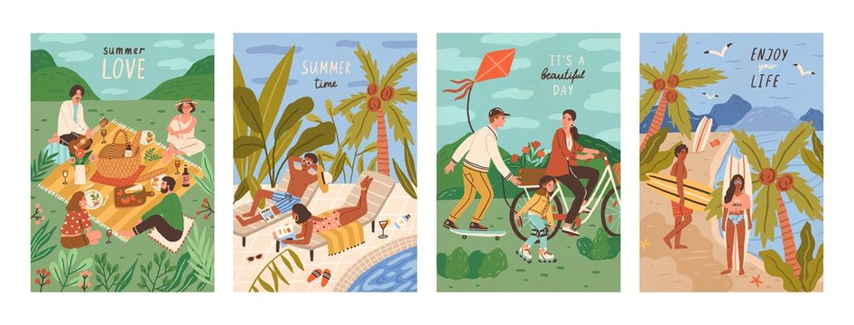 Set of flyers with people performing outdoor leisure activities - friends at picnic, couple sunbathing at swimming pool, surfers on tropical beach. Summer vacation cards. Flat vector illustration.
