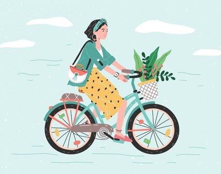 Happy girl dressed in trendy clothes riding city bicycle with flower bouquet in front basket. Adorable young hipster woman on bike. Cute pedaling female bicyclist. Flat cartoon vector illustration.