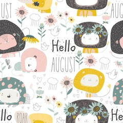 Seamless pattern with cute lions and flowers on white background