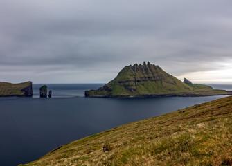 Long exposure of Drangarnir gate, Tindholmur in Faroe Islands