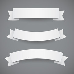 Set of White Flags Or Ribbon Banners