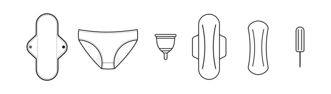 Feminine hygiene products. Classic products: sanitary pads and tampon. Sustainable products: cloth menstrual pad, period panties and menstrual cup. Black line. Vector illustration, flat design