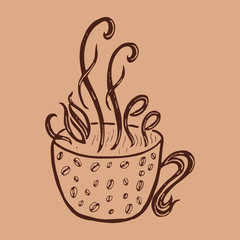 Cup of coffee. Hand drawing and lettering.