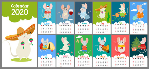 Cute, stylized hand-drawn monthly 2020 calendar with rats. Can be used for banner, poster, card, postcard and printable.