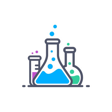 Laboratory beakers icon. Сhemical experiment in flasks. Сhemistry and biology symbol. Flasks vector illustration. Science technology. Isolated black object on white background.