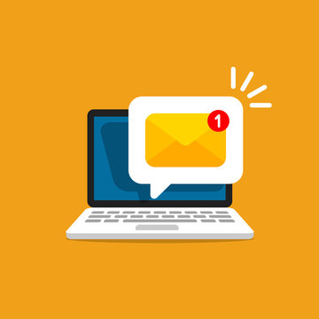 Email message on screen in laptop. Message reminder concept. Newsletter on computer. Vector illustration in flat style.