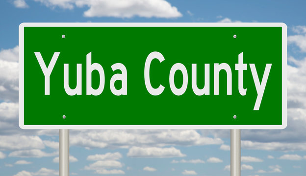 Rendering of a green highway sign for Yuba County California