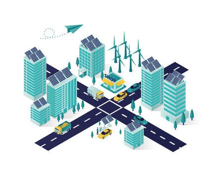 solar panel energy isometric illustration, renewable energy using solar panel to city electricity isometric vector illustration