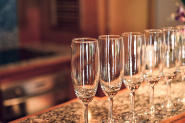 Row of glass wine with shiny on bar