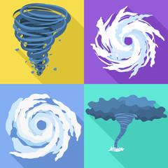 Hurricane icons set. Flat set of hurricane vector icons for web design