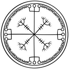 Viking magic fantasy emblem/ Illustration modificated helm of horror sign with runic symbols