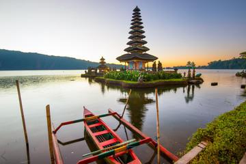 Pura Ulun Danu Bratan at sunrise, temple on the lake, Bedugul, Bali, Indonesia.