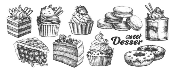 Assortment Baked Sweet Dessert Set Vintage Vector. Chocolate And Fruit Cakes, Macaroons And Donuts, Berries Pie And Creamy Caseous Dessert Concept. Designed Template Black And White Illustrations Fototapete