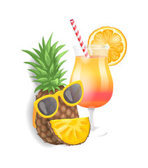 Pineapple summer cocktail isolated icons set vector. Pineapple with sunglasses and slice forming face, beverage with orange citrus slice and straw
