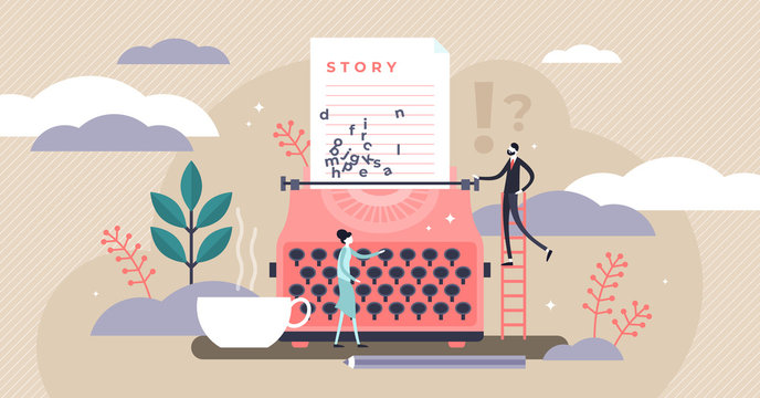 Story vector illustration. Flat tiny literature text author persons concept