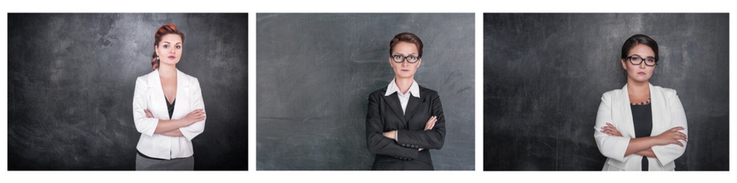 Set of Serious teacher woman looking at you on blackboard