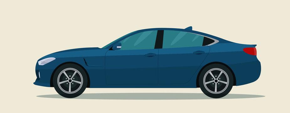Sport sedan isolated. Vector flat style illustration