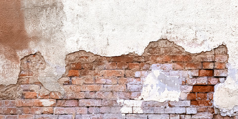 Background Of Old Vintage Dirty Brick Wall With Peeling Plaster, Texture. Shabby Building Facade...