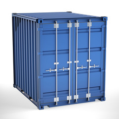 Small shipping container with closed doors. Global shipping and delivery concept on white background. 3d illustration.