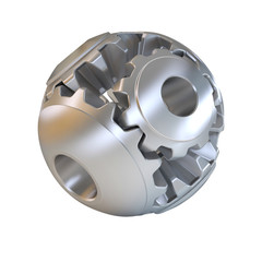 3d cogs abstract sphere, on white background 3d illustration