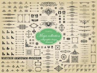Mega collection of vector calligraphic design elements Wall mural