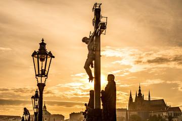 Charles Bridge, a historic bridge in Prague, Czech Republic.