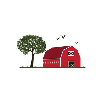 Colorful barn illustration with trees, birds and grass