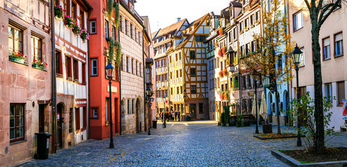 Travel in Germany - charming traditional streets of old town in Nuremberg(Nurnberg) Fotomurales