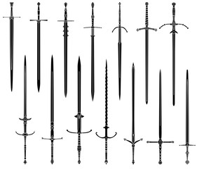Set of simple monochrome images of medieval two-handed swords.