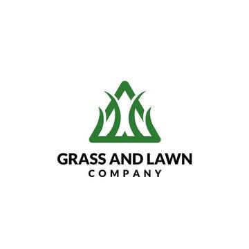Triangle green grass lawn company logo design