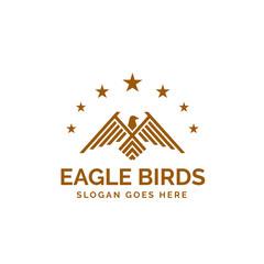 Golden eagle line art illustration logo design with stars around