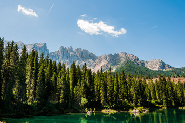 Dolomiten, Karersee, Bergsee, Gebirge, Latemargruppe, Eggental, Wanderweg, Südtirol, Sommer, Italien