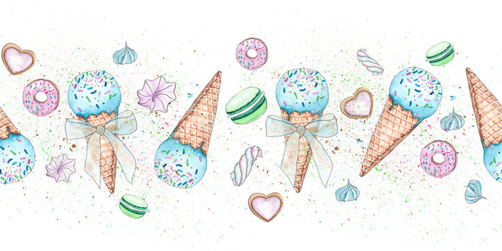 Watercolor seamless border with ice cream, donuts, sweets, marshmallows, lollipops, macaroons,cookie