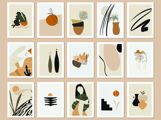 Trendy Printable Abstract Art Prints. Vector Illustrations Bundle. Minimal Terra Posters. Beige, Black and Burnt Orange Prints Set.