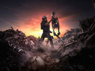 Robotic War ( men vs machines ) - Illustration of an apocalyptic scene of a soldier holding a robot in war. Wall mural