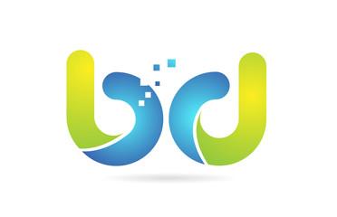 Obraz bd b d blue green combination alphabet letter logo icon design - fototapety do salonu