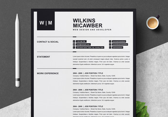 Black and White Resume Layout with Border