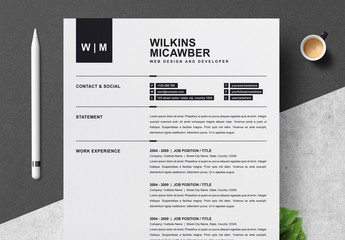 Minimalist Resume Layout with Cover Letter