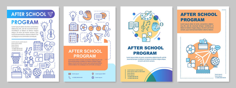 After school program cover design brochure template layout. Afterschool learning center. Flyer, booklet, leaflet print design with linear illustrations. Vector page layouts for annual reports, posters