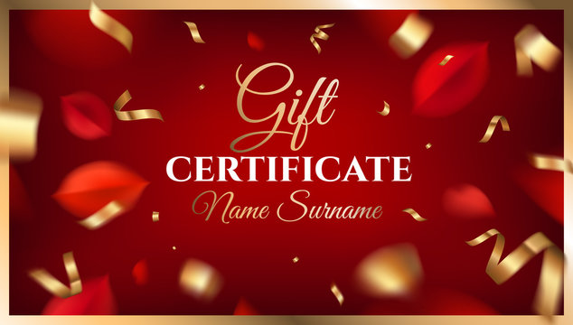 Gift certificate template design with autumn red leaves and ornate decoration