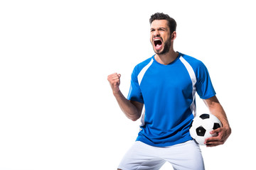 excited soccer player with ball and clenched hand Isolated On White