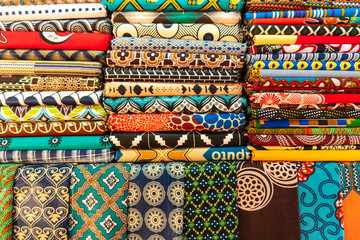Plenty of colorful african fabrics
