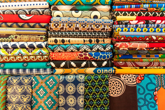 Plenty of colorful african fabrics