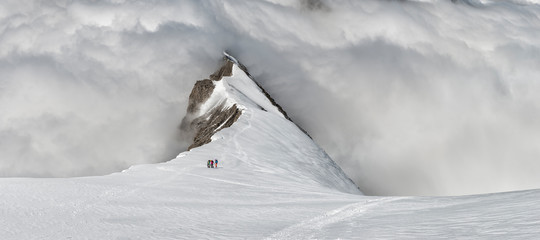 Scenic view of Balmhorn summit ridge covered in snow
