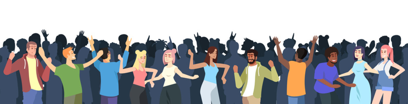 Summer music festival flat vector illustration. Crowd having fun at open air concert. Summertime pleasure outdoor activity. Dancing people isolated cartoon characters on white background